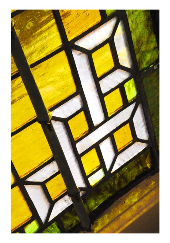 Stained Glass Window, in Wooden Jamb