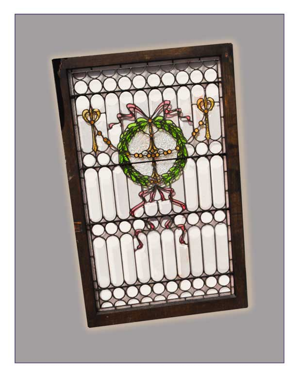 Large, Plated Came Window, with Wreath & Ribbons