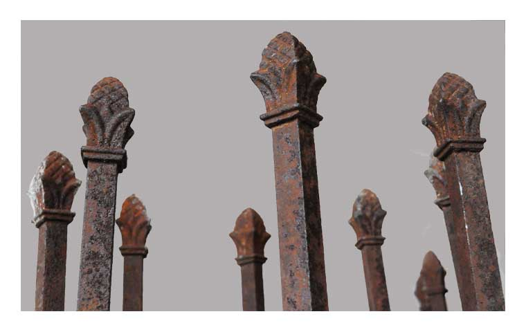Two Iron Gate Posts