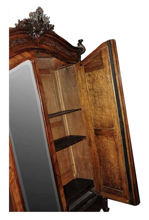 Two-Door French Armoire, with Beveled Mirrors