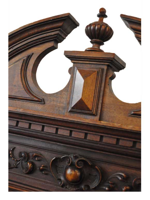 Deeply Carved Hall Tree, with Crown & Beveled Mirror