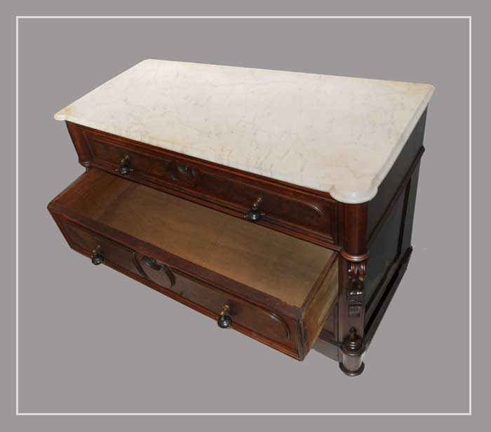 Three-Drawer Walnut Dresser, with Marble Top