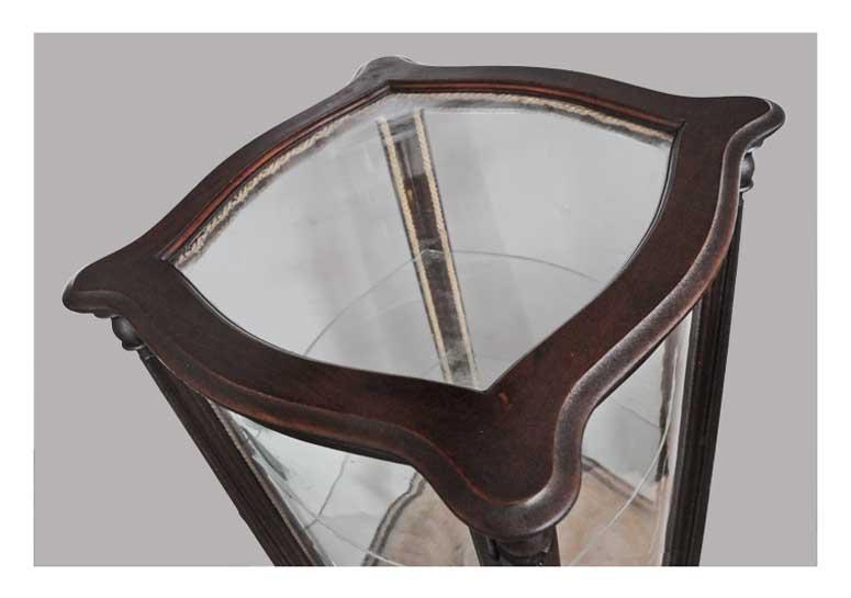 Carved Mahogany Vitrine, with Glass Shelves