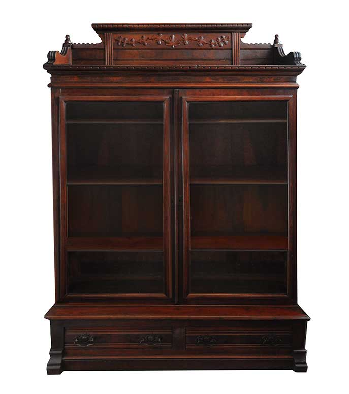 Two-Door, Carved Walnut Victorian Bookcase, with Burls