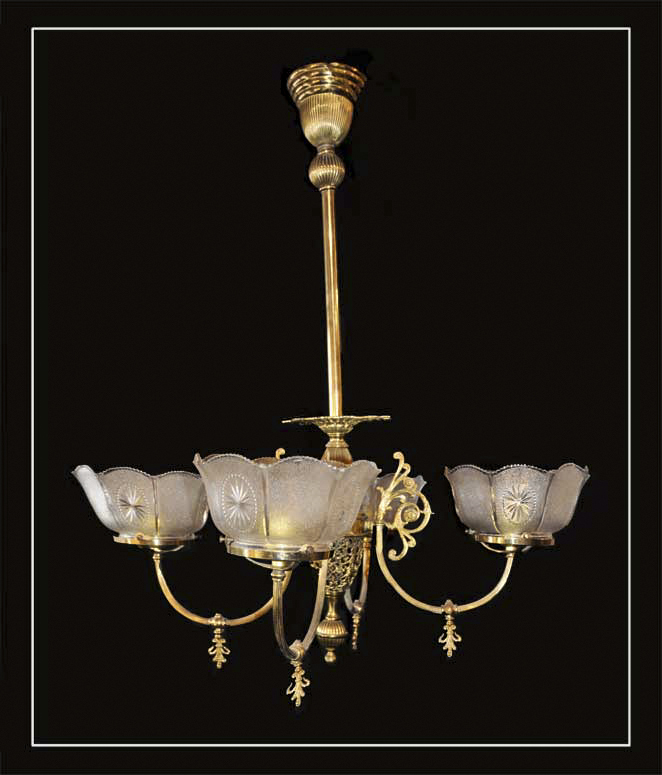 Converted, Four-Armed Gas Light, with Filigree Frame