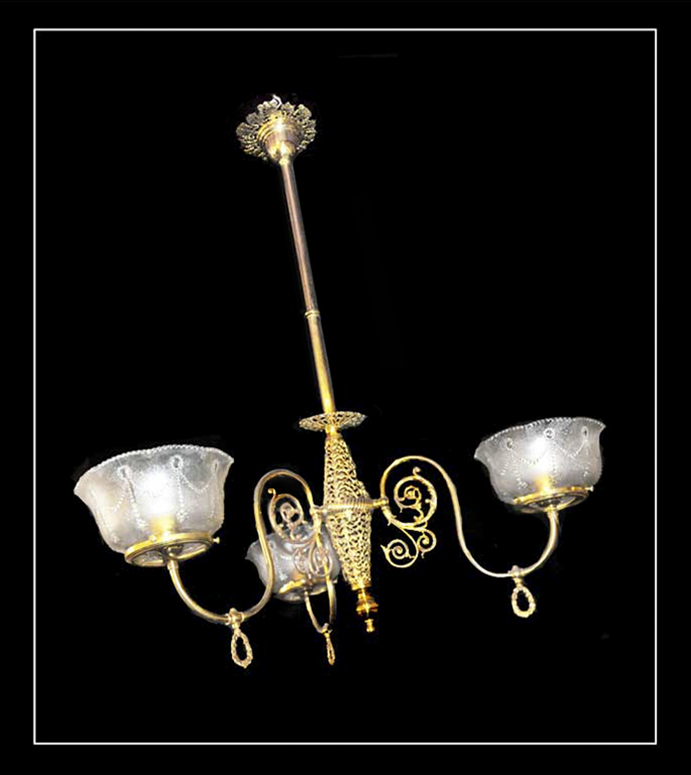 Converted, Three-Armed Gas Light, with Filigree Frame