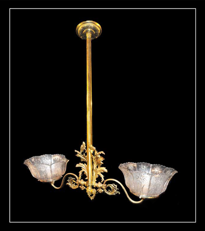 Two-Armed Brass Light, with Filigree & Antique Shades