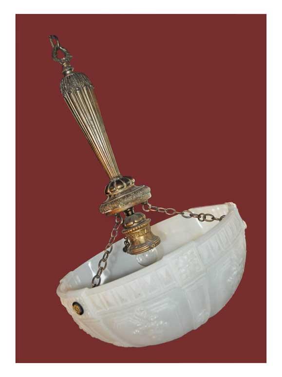 Embossed Glass Bowl Ceiling Light