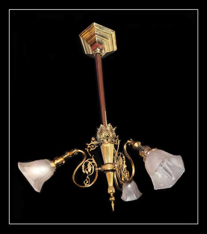 Three-Armed Brass Filigree Light
