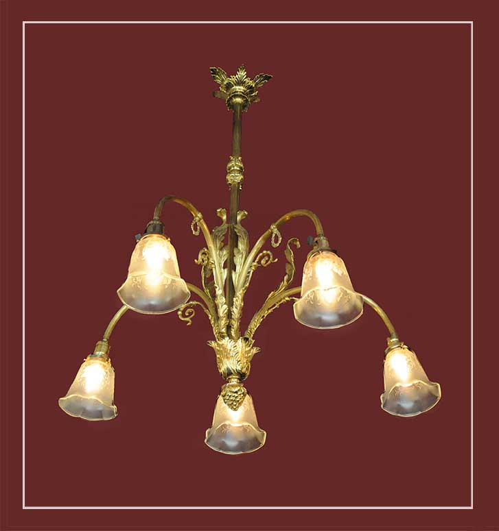Five-Armed Electric Light, with Brass Frame & Stenciled Shades