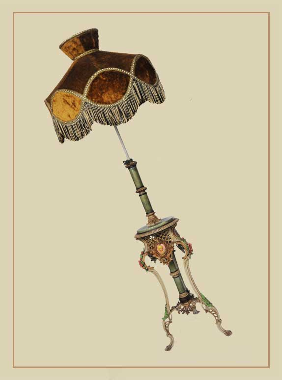 Victorian Floor Lamp, with Fringed Shade