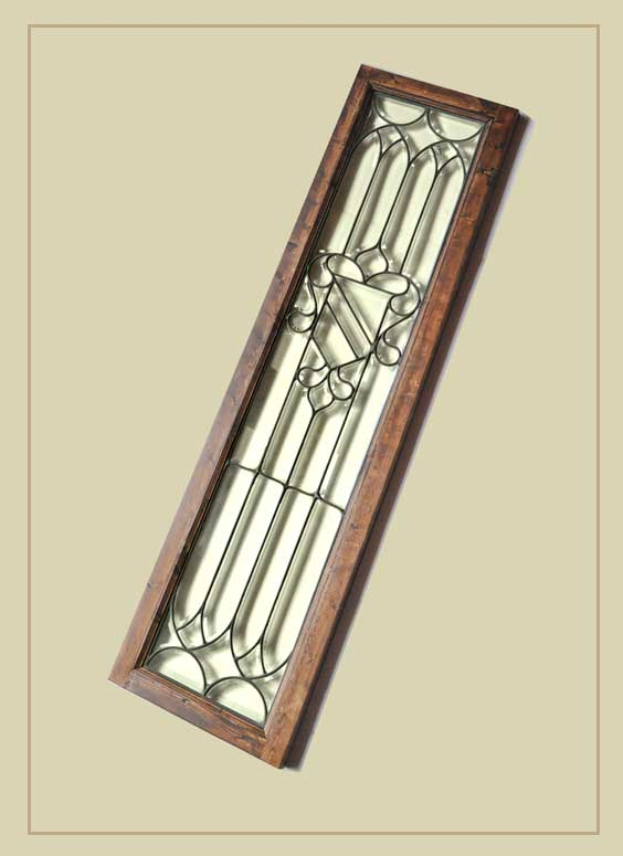 Clear, Beveled Glass Panel, in Wood Frame