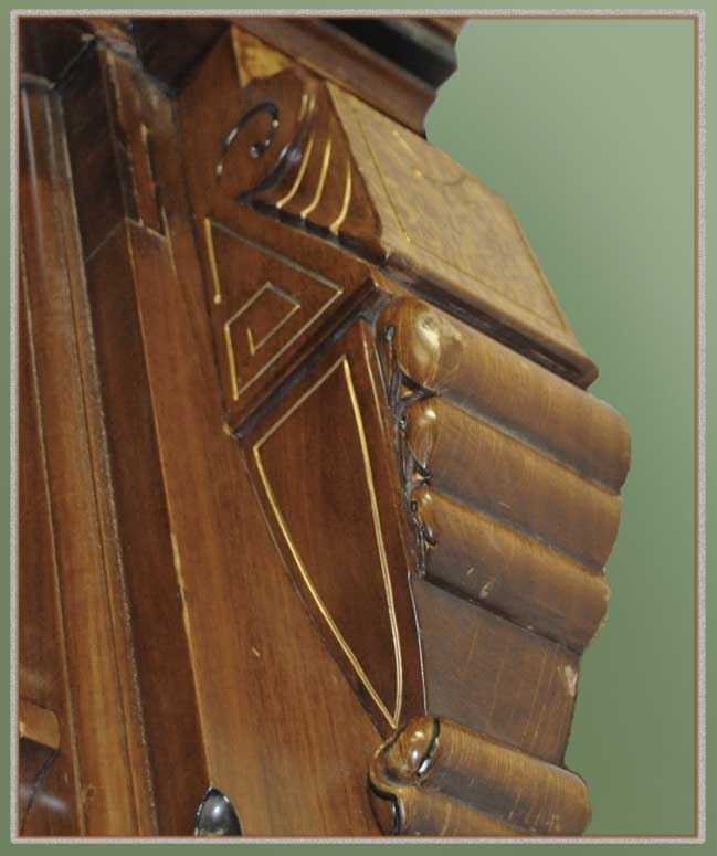 Carved Revival Overmantel Mirror, with Ebonized Accents