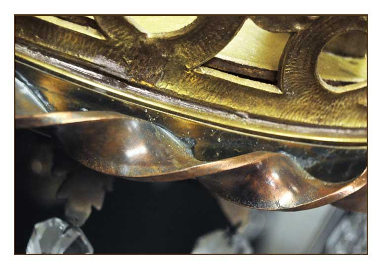 Large, Artful, Six-Armed Brass Chandelier