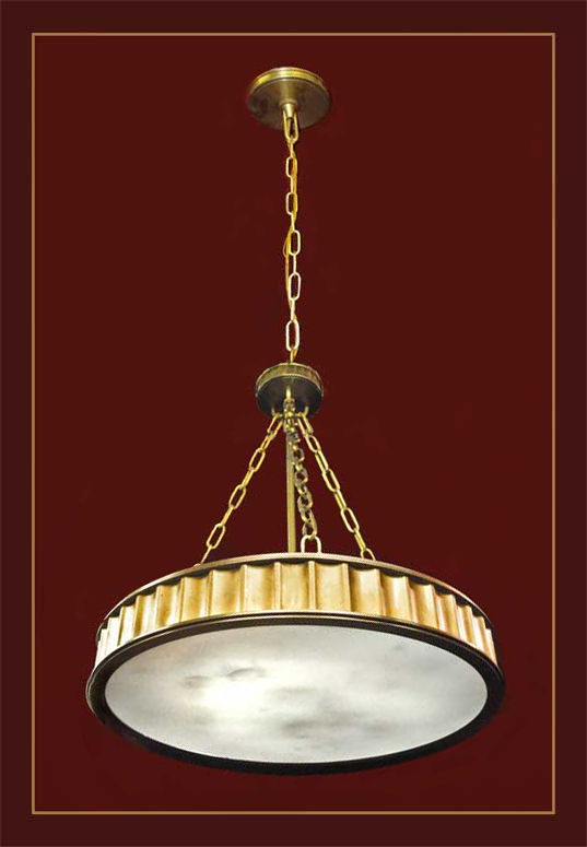 Round Light, with Brass Frame & Chain