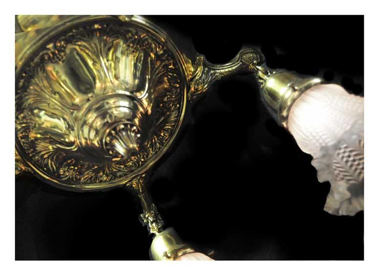 Five-Armed Brass Pan Light