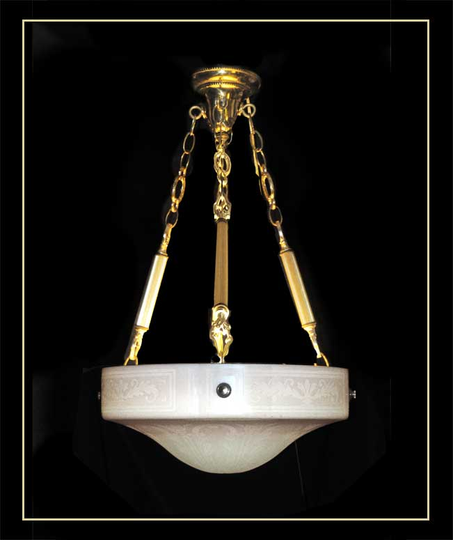 Bowl Light, with Brass Chains & Stencils