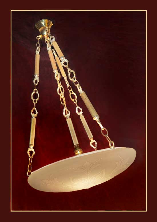 Hanging Bowl Light, with Floral Embossing