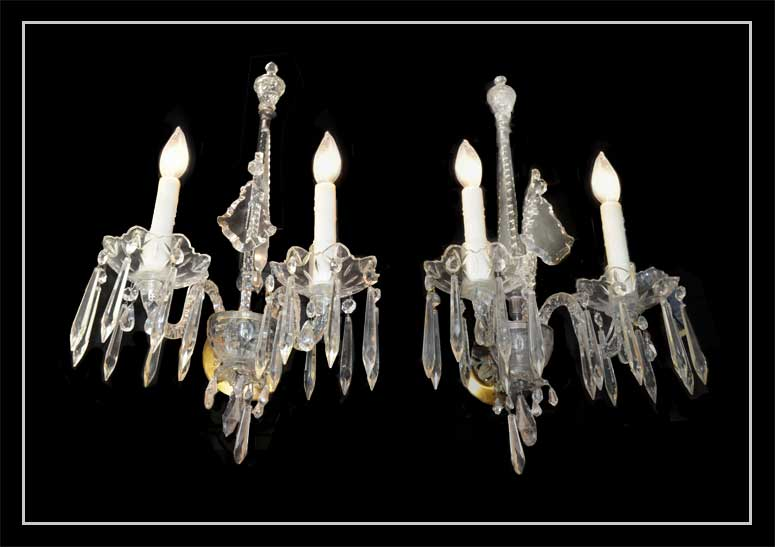 Pair of Two-Armed, Clear Glass Sconces