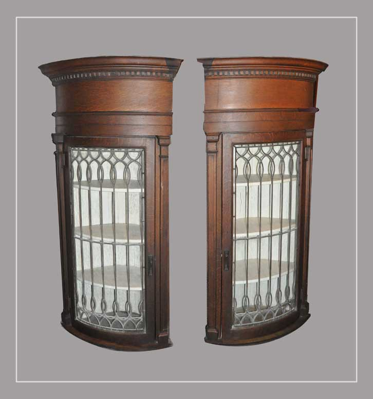 Pair of Curved Corner Cabinets, with Leaded Glass Doors
