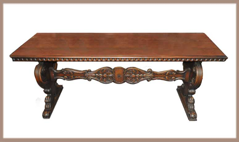 Six-Foot Carved Library Table