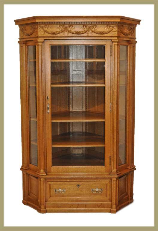 Large Oak Corner Cupboard, with Glass Doors