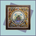 Large, Square Stained Glass Window, with Mahogany Frame & Jewel Cuts