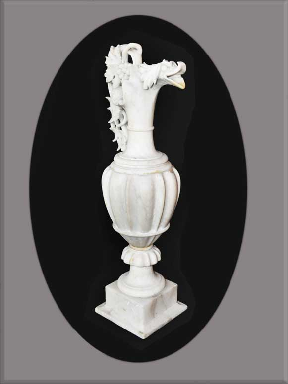 Carved Alabaster Urn, with Duck Figure