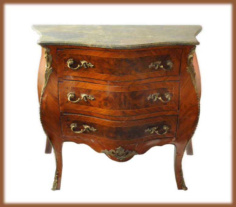 Two Small Carved French Commodes, with Marble Top & Ormolu Gilding