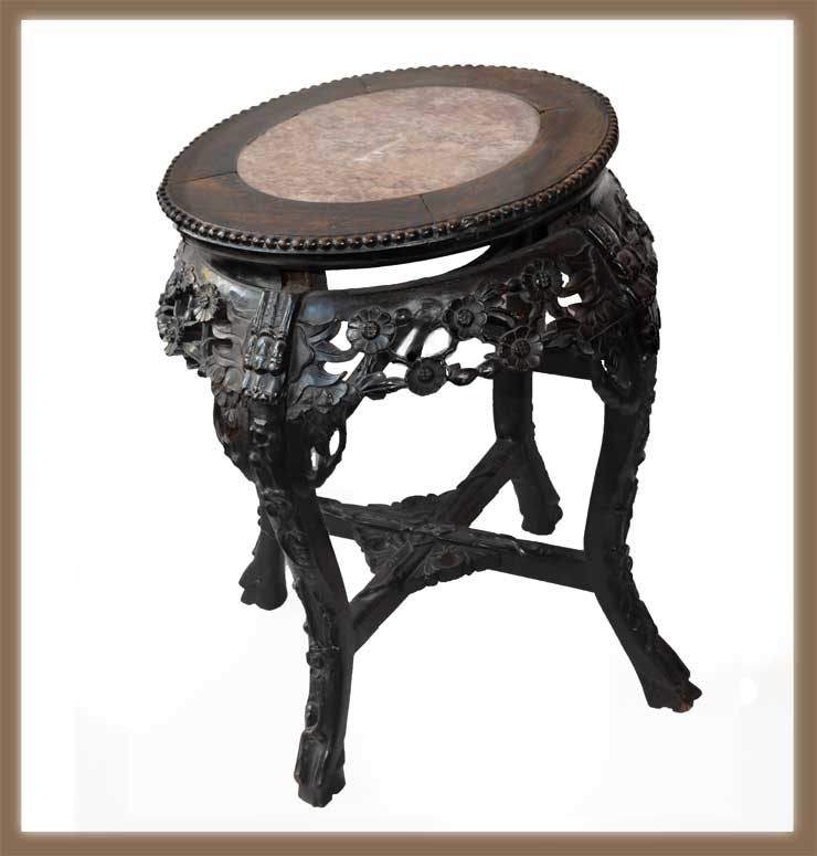 Small, Carved Chinese Table, with Marble Top