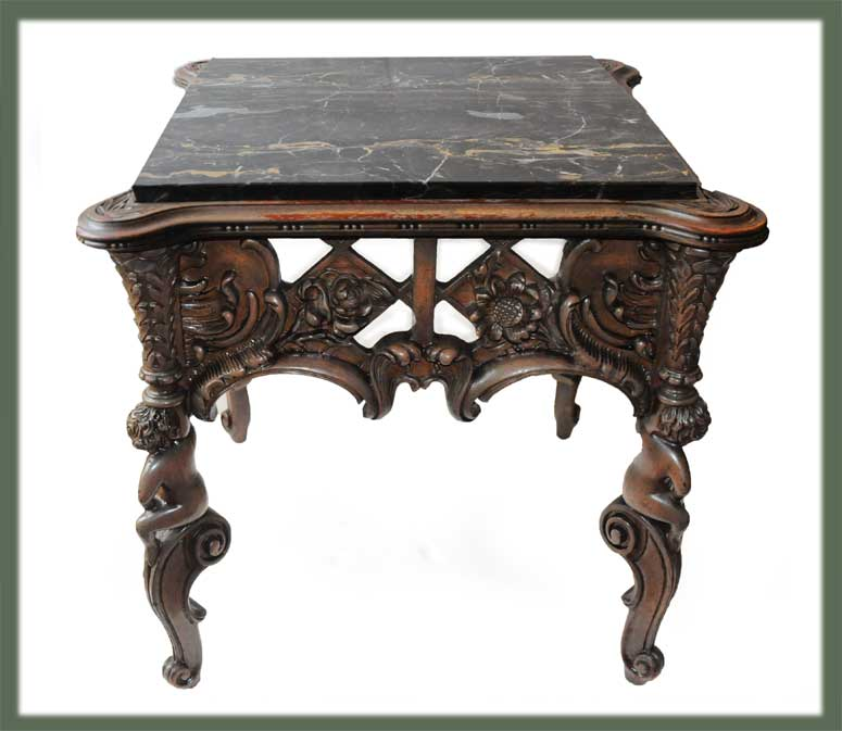 Finely Carved Display Table, with Marble Top & Figures