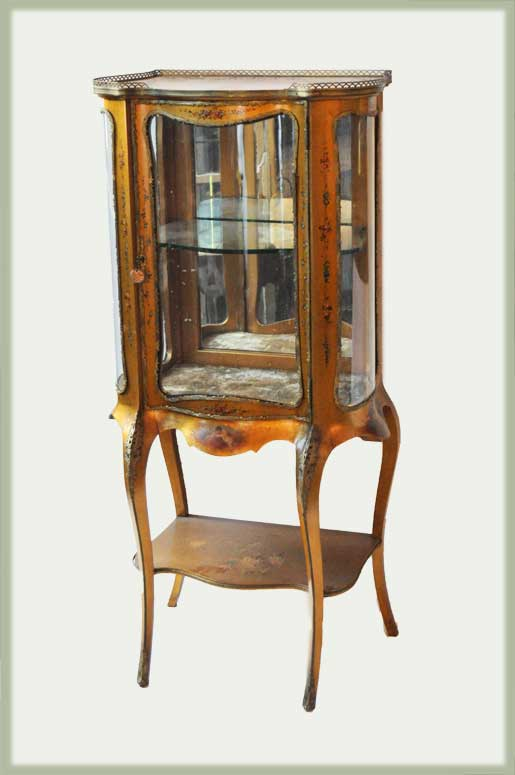 Vintage Gold Vitrine, with Embossings & Curved Glass Door