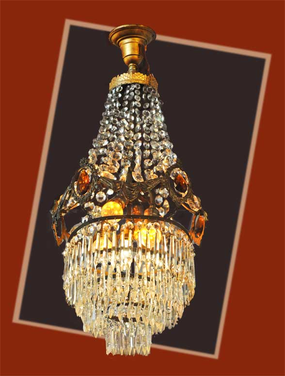 Restored Crystal & Jewel-Cut Light, with Warm Amber Lights