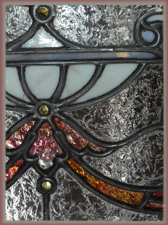 Stained Glass Transom Panel, with Red Jewel-Cut Accents