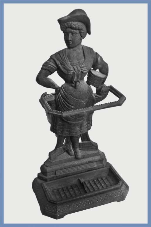 Iron Umbrella Stand, with Cast Figure