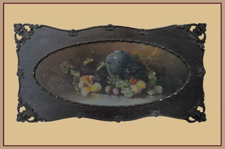 Pastel Still Life, in Oval Wood Frame