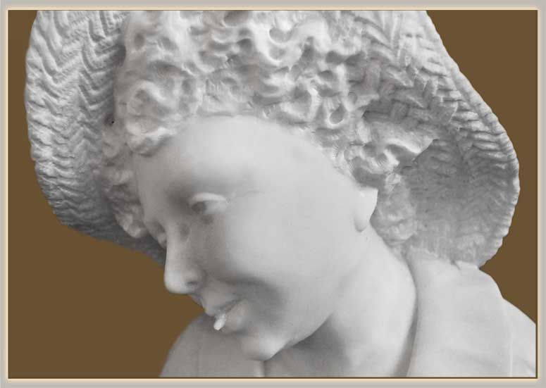 White Marble Bust of Young Girl Holding Bird