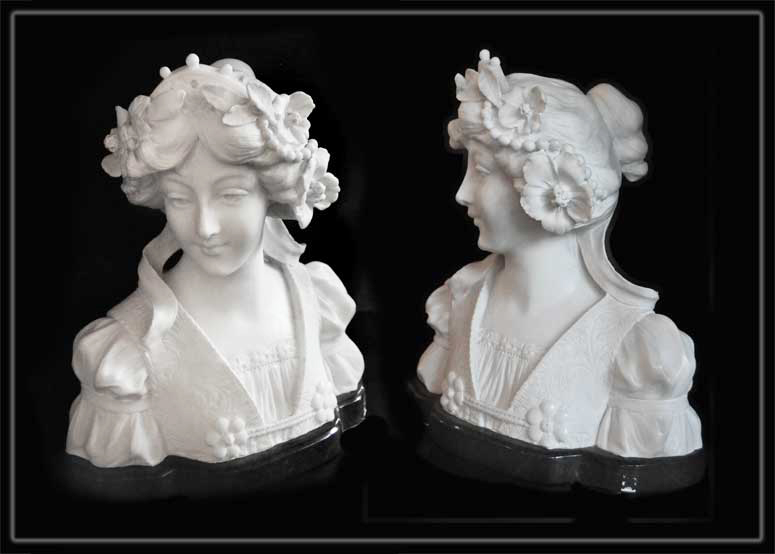White Marble Bust of Young Woman with Flowers in Hair