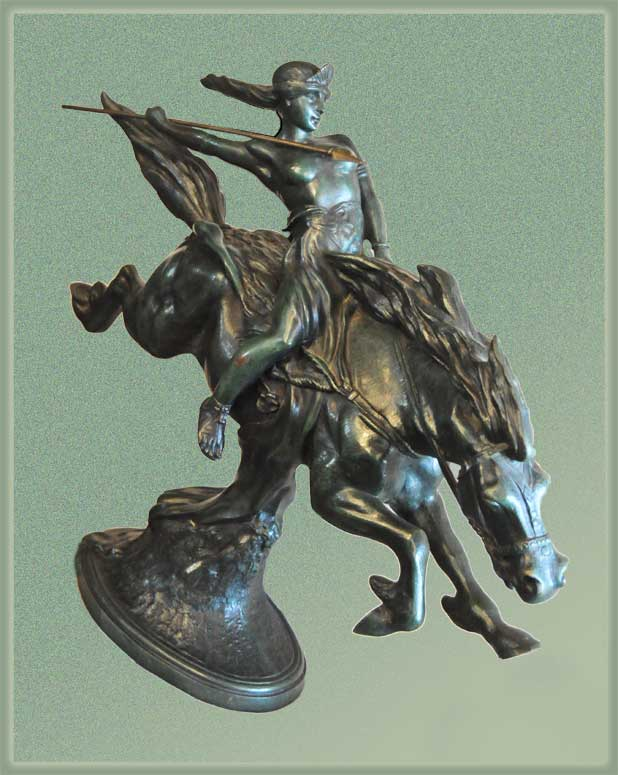 Cast Bronze Warrior Princess, on Horse with Spear, by Bousquet