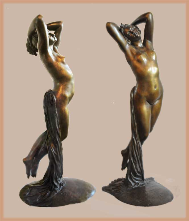 Bronze Nude, in Ecstatic Pose, by Collet