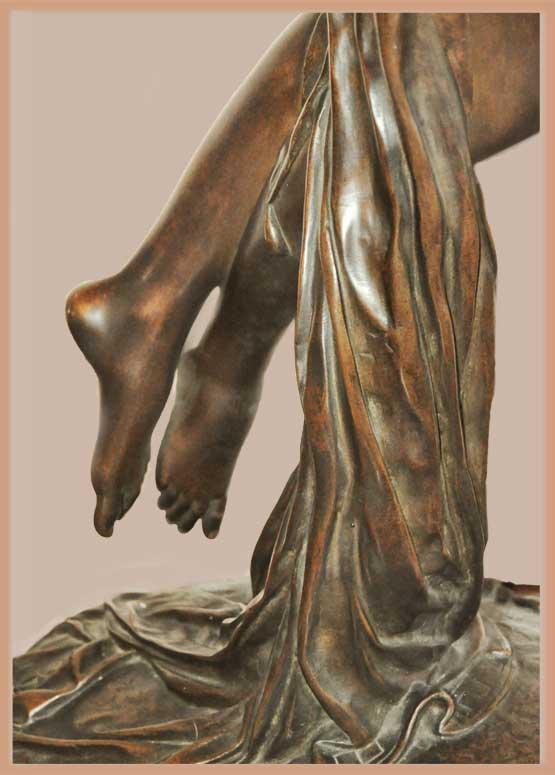 1980s Vintage Modern Bronze Sculpture Abstract Nude