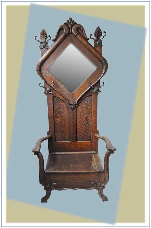Vintage Oak Hall Tree, with Diamond-Shaped Back Mirror