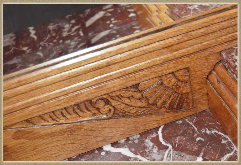 Classic Carved Art Deco Server, with Beveled Mirror