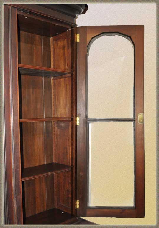 Walnut Bookcase, with Three Glass Doors