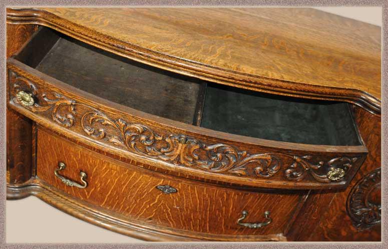 Vintage Carved Oak Server, with Scrolls & Seals