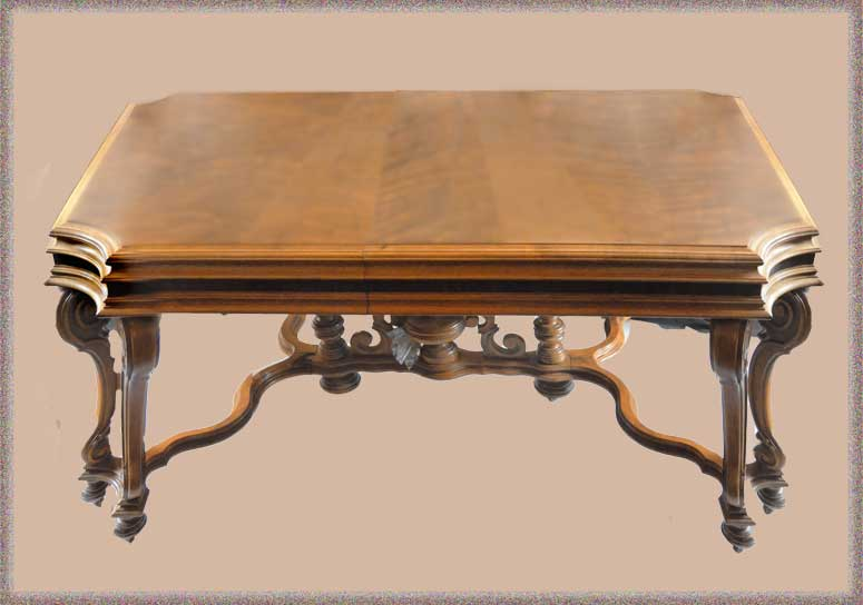 Walnut Dining Table, 6 Chairs & China Cabinet