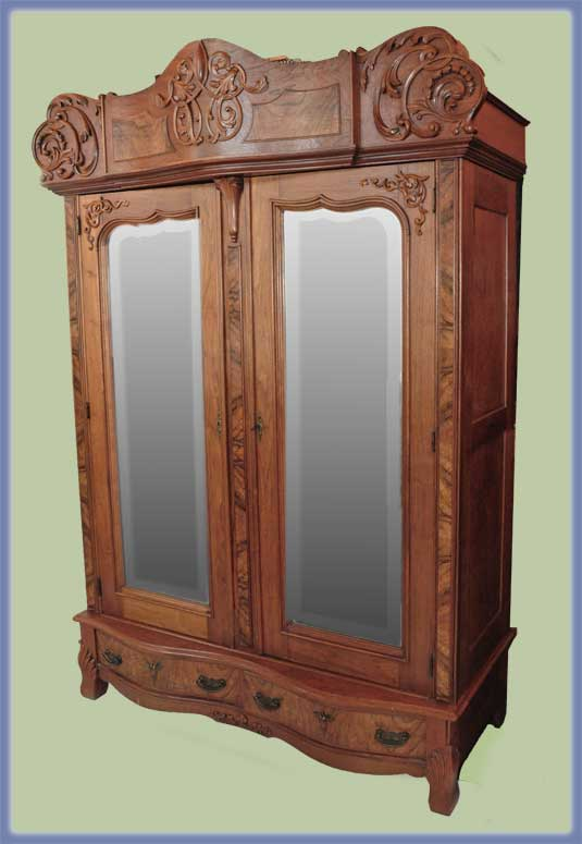 Large Walnut American Wardrobe, with Beveled Mirrors
