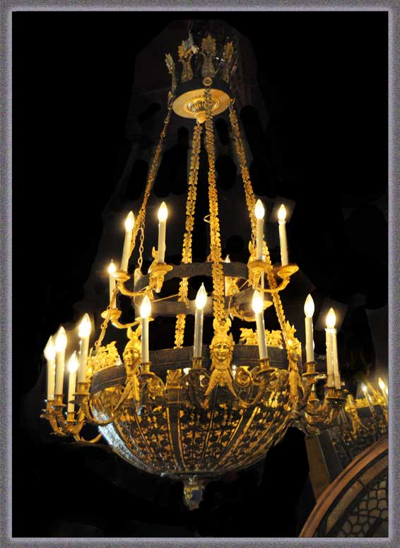 Stunning Ornate Brass Empire Chandelier