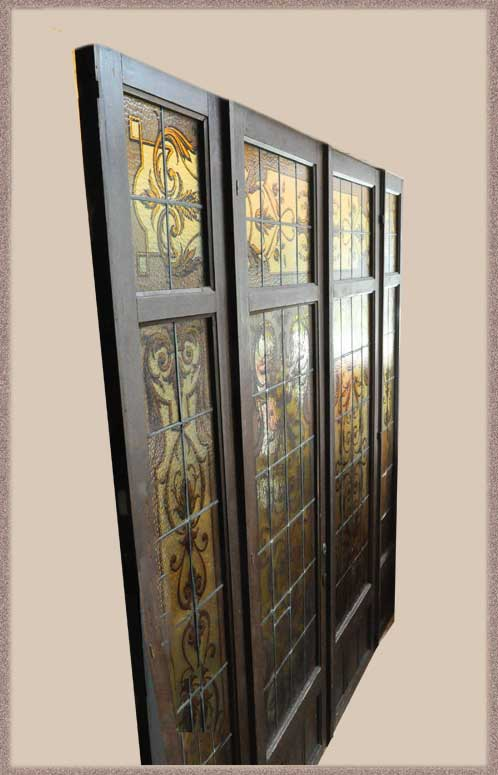 Vintage Four-Panel Entry Set, with Painted & Fired Glass