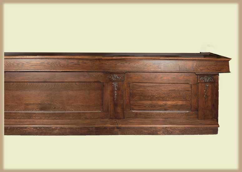Fine 16-Foot Oak Saloon Front & Back Bar, with Beveled Mirrors